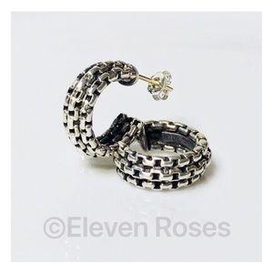 David Yurman Box Chain Huggie Hoop Earrings